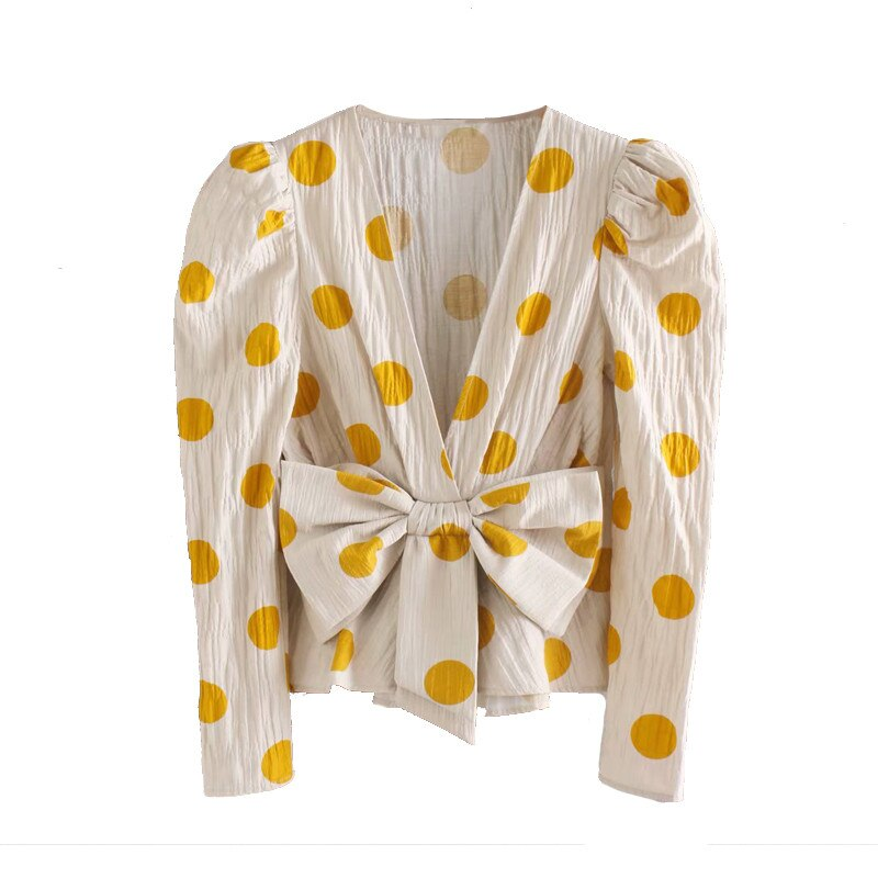 2020 classic polka dot kimono blouses tops women sexy deep v-neck summer tops statement bow
