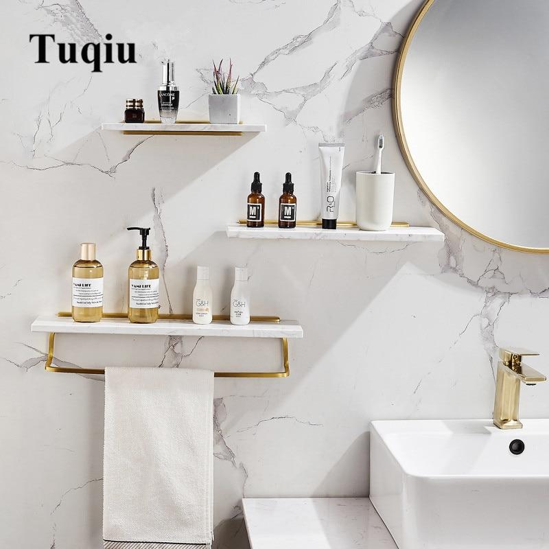 Tuqiu-رف حمام مثبت على الحائط أو بدون مسامير ، رف دش رخامي ذهبي مصقول ، حامل شامبو ، حامل سلة