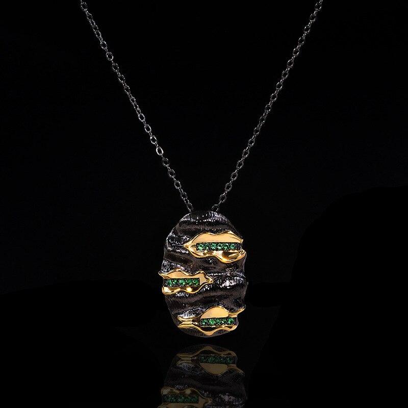 NPKDS, collar con colgante de oro negro de joyería italiana de diseño Original para mujer, Gargantilla Vintage de cóctel de Esmeralda, collares