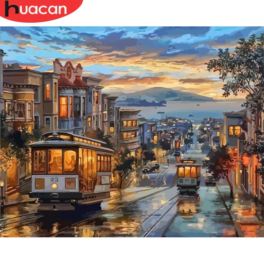 HUACAN pintura por números paisaje de ciudad dibujo sobre lienzo pintado a mano arte de la calle Kits de imágenes casa decoración regalo