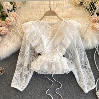 spring summer 2021 sweet ruffled v neck short blouse shirt for women lace shirt sexy hollow out see through lace blouse tops