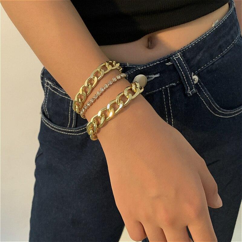 Ювелирные изделия, браслеты для женщин в стиле хип-хоп, модные браслеты Стразы в стиле панк, золотые цепочки, Набор браслетов, аксессуары