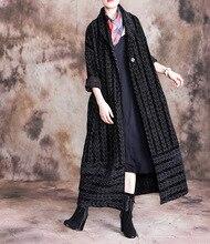 Mode femmes Long manteau hiver chaud mince femmes Outwear rayure sobretudo feminino manteau ample Vintage surdimensionné grand manteau femmes manteau