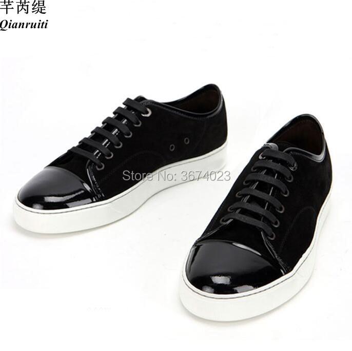 Qianruiti Fashion Men Casual Shoes Low Top Sneakers Lace Up Rubber Sole Flats Men Leisure Shoes Sneakers