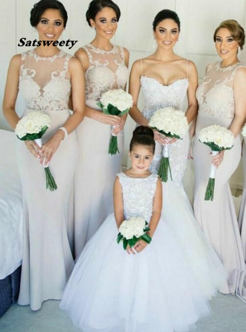 فستان إشبينة العروس مثير ، حورية البحر ، ذيل مسح ، رمادي ، فستان وصيفة الشرف