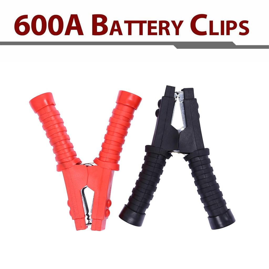 2 uds 600A batería Clips de prueba abrazaderas para coche Cable de batería de arranque RD/BK pinzas de cocodrilo Ideal cargadores de batería