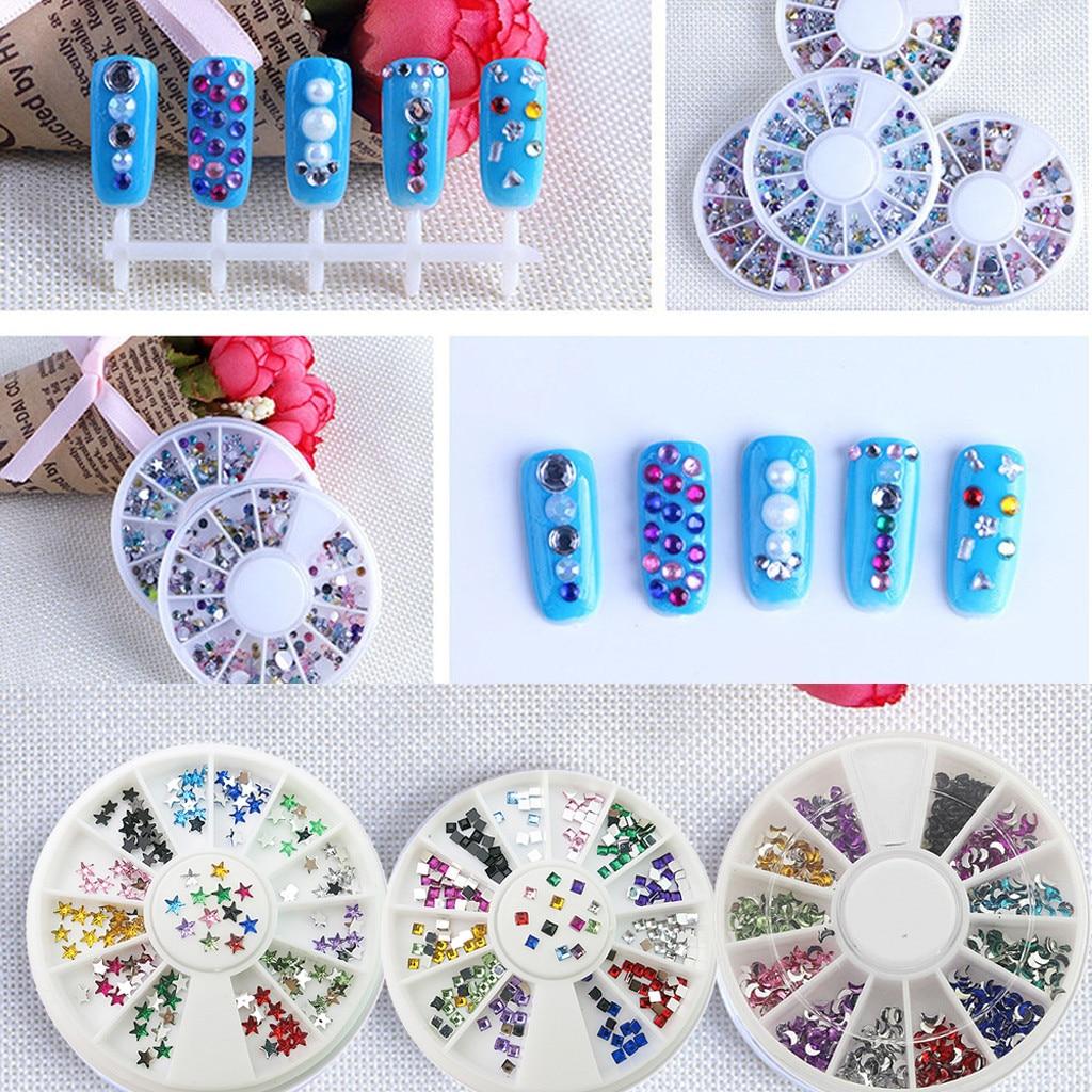 Mezclar-manicura de diamantes de imitación de cristal, decoración 3D, DISEÑO DE puntas,...