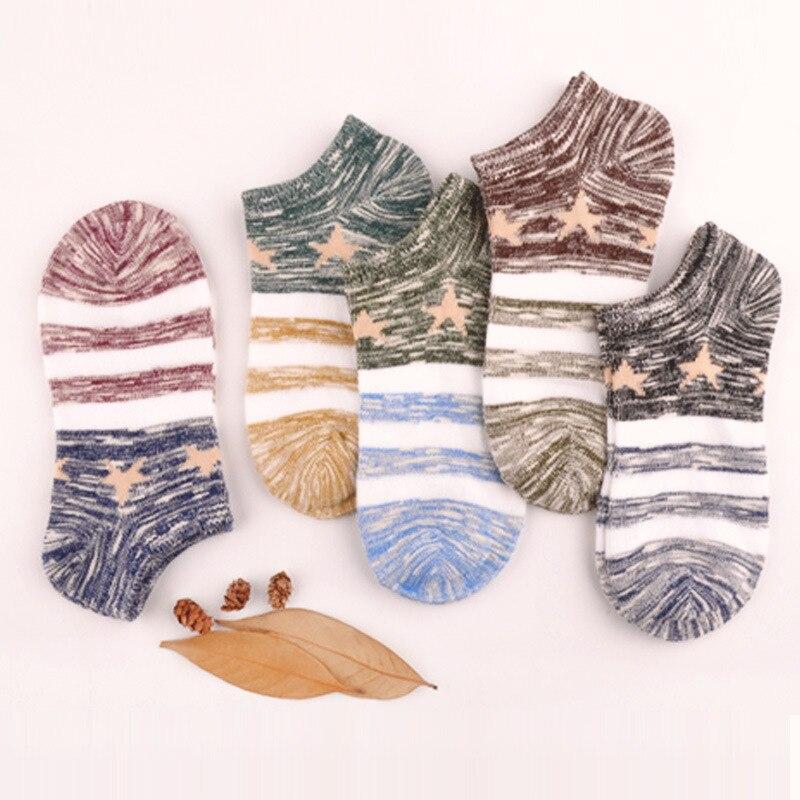 New Fashion 4 Color man Retro Casual Short Socks stripe Star Sock For Femal Fashion Lively Asakuchi Socks