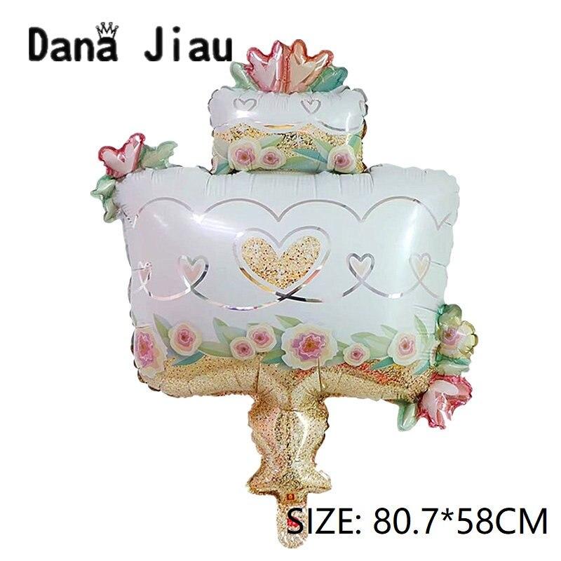 Decoración Para Boda, fiesta blanca, doble pastel de chocolate, globos de papel de aluminio, regalo de San Valentín, colorido helado, bola para chicas
