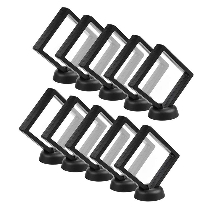 Münze Display Box - Set Von 30 3D Schwimm Rahmen Display Halter mit Steht für Herausforderung Münzen, AA Medaillons, Schmuck, Schwarz