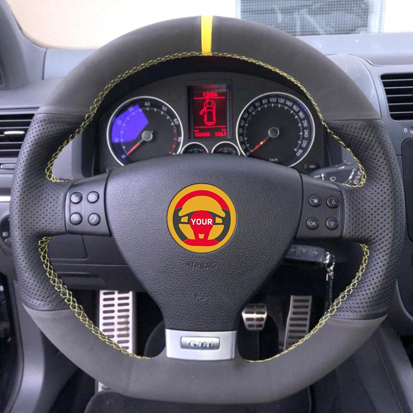 Black Suede Black Synthetic Leather Yellow Marker Steering Wheel Cover for Volkswagen Golf 5 Mk5 GTI VW Golf 5 R32 Passat R GT enlarge