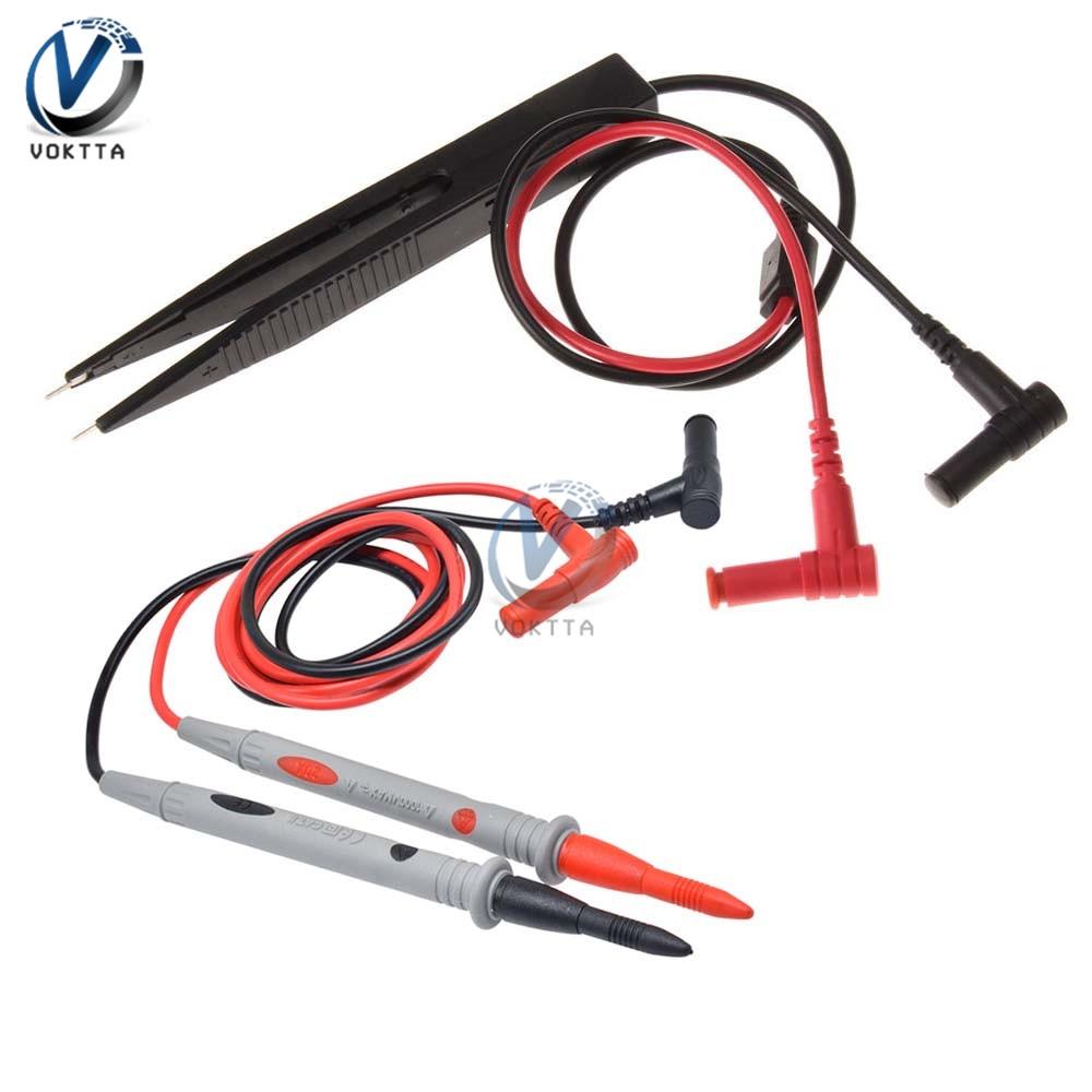 1 par de cables de prueba de sonda universal Pin para multímetro Digital aguja 1000V 20A 1000V 10A SMD aguja de prueba de la aguja