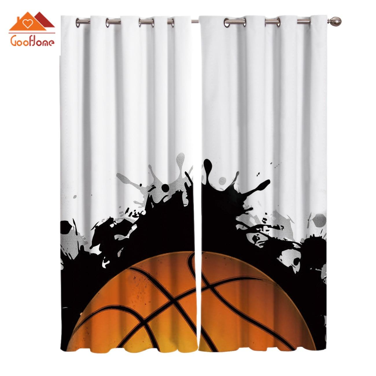 Мультяшный баскетбольный дизайн оконные занавески s гостиная наружная ткань занавески домашний декор