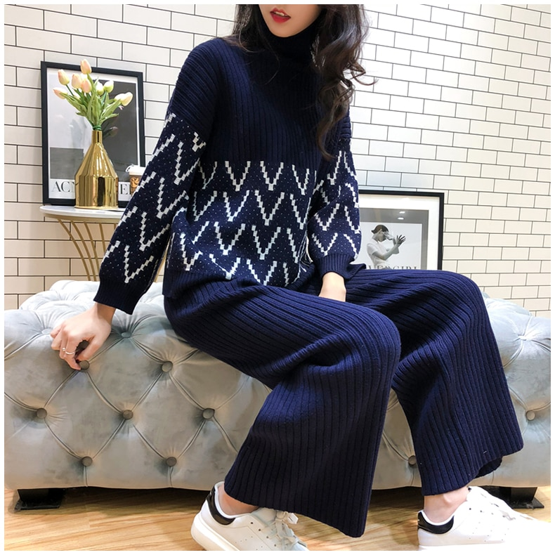 2019 Winter Turtle Neck Pullovers Loose Knitting Sweater + Wide-leg Knit Pants Women 2pcs Casual Suit Black Blue
