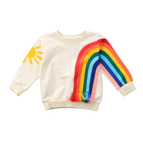 Baby Girl Kid Rainbow T-Shirt Tops Clothes Long Sleeve Sweater Sweatshirt T-Shirts