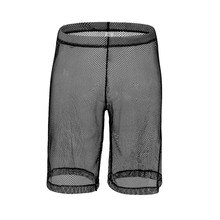 Sexy Gay Underwear Men Boxers Transparent Mesh Shorts Solid Breathable U Convex Pouch Long Leg Underpants Cueca masculina S-XL