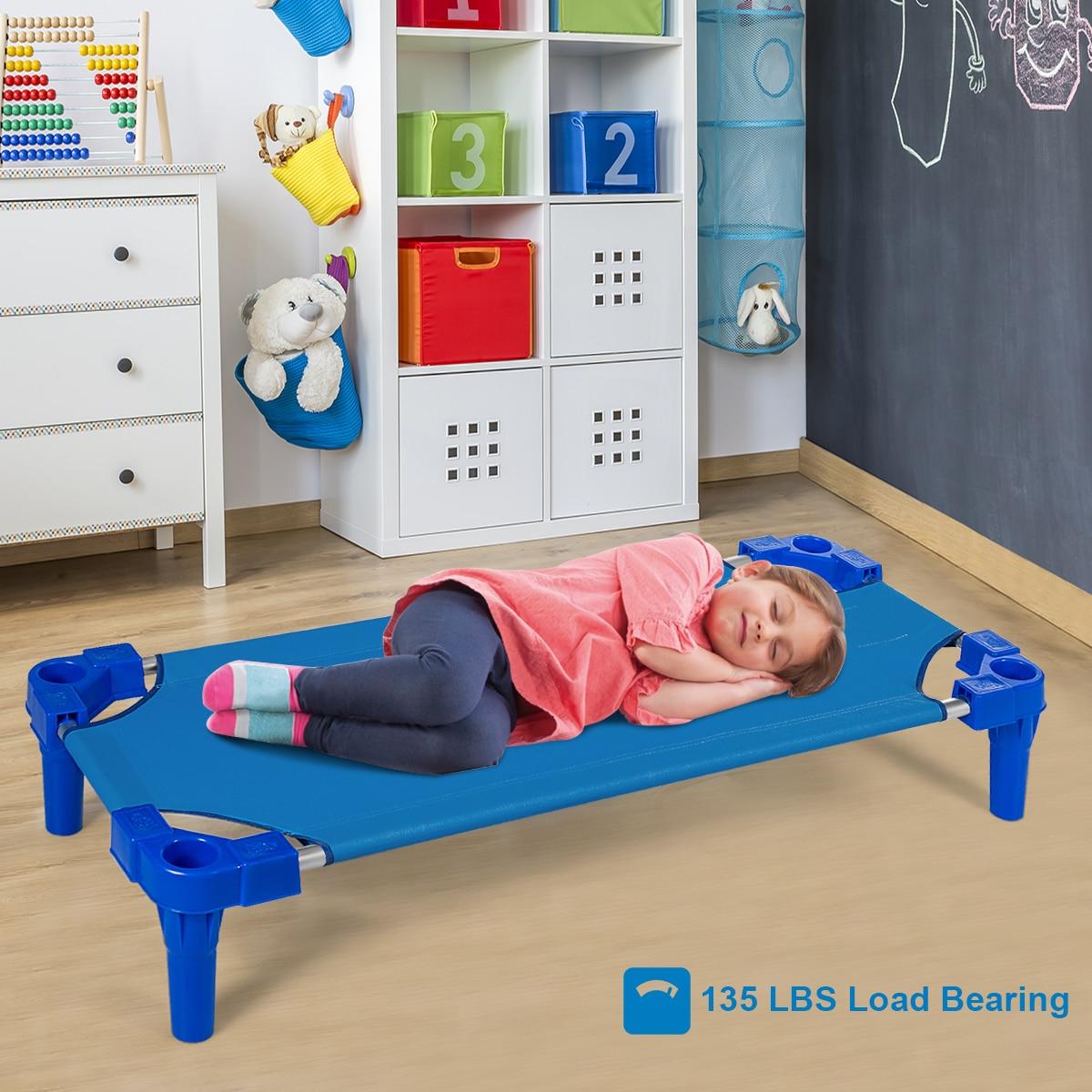 Pack of 6 Stackable Daycare Sleeping Cot Standard Toddler Kids Nap-time Rest enlarge