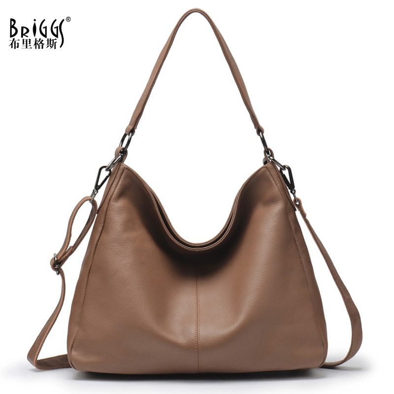 BRIGGS Soft Genuine Leather Handbag Vintage Women's Shoulder Bag New Design Hobos Totes Large Capacity Ladies Messenger Bags