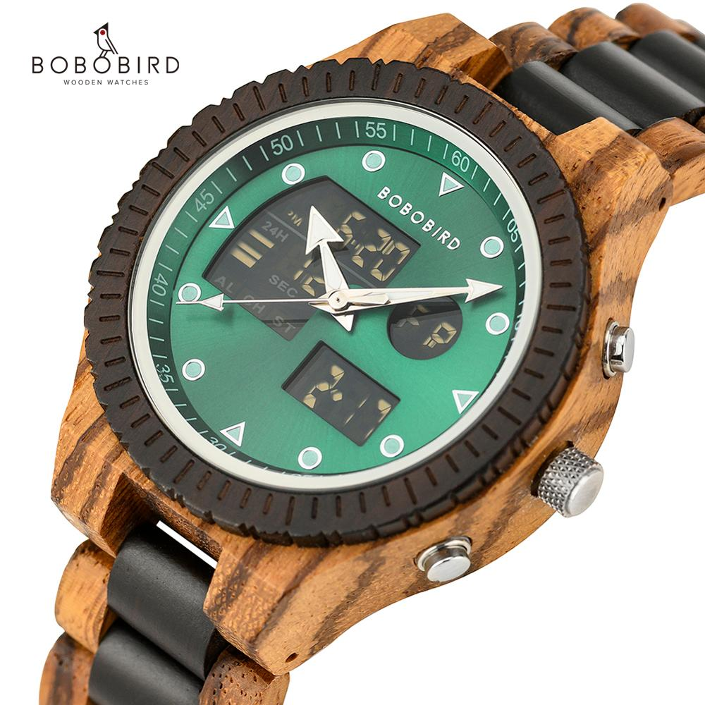 Relogio Masculino BOBO BIRD Zebra Wood Watch Men Dual Display Quartz Watches Men's Luxury Christmas Day Gifts OEM Dropshipping