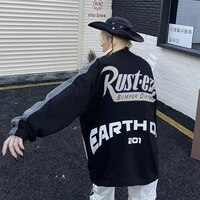 women baseball jacket 2021 new autumn ins street stitching letter print jacket top loose long sleeve cardigan jacket womens
