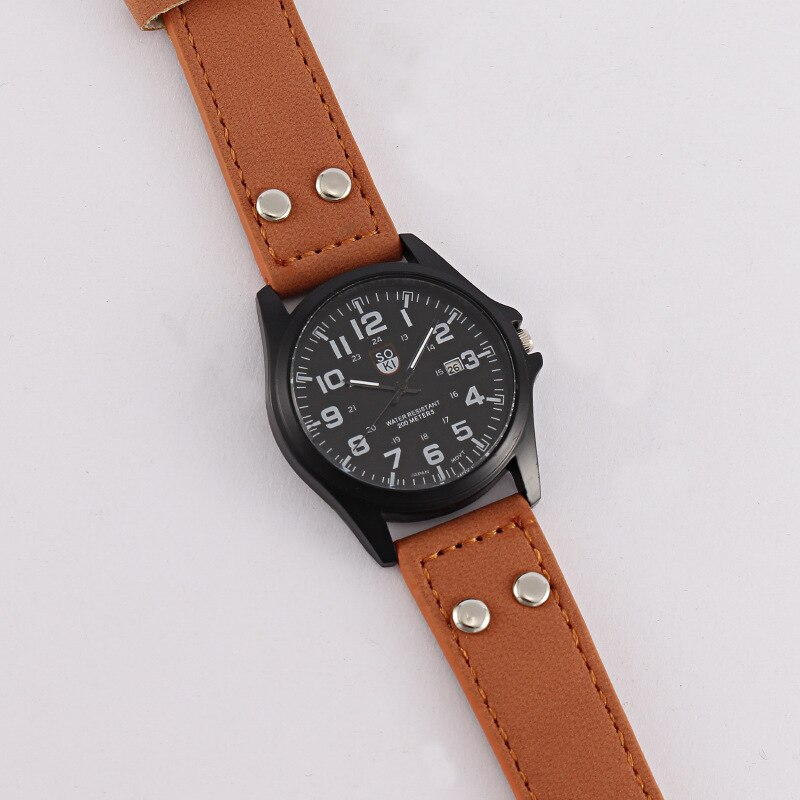 MREURIO Casual Style Men's Watch Arabic Numerals High Quality Leather Band Calendar Watch for Men Fashion Luxury Quartz Watch enlarge