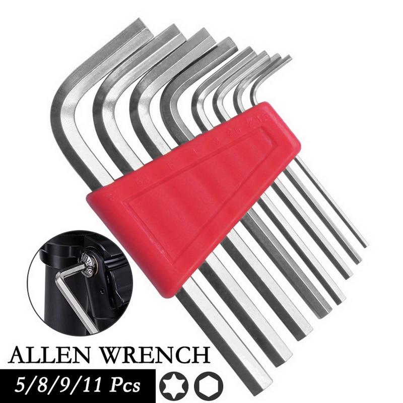 5/8/9/11PCS Hex Key Set CR-V Wrench Allen Metric Short Arm Tool