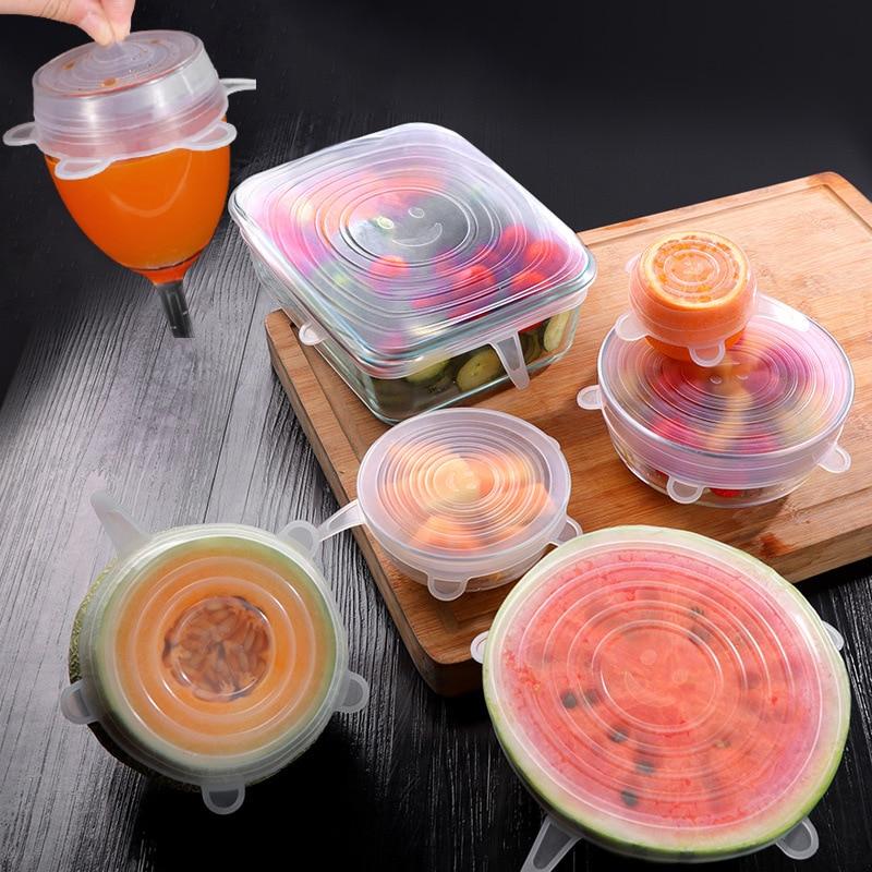 Tapa Adaptable de silicona para alimentos 6 uds elástic para microondas accesorios de cocina