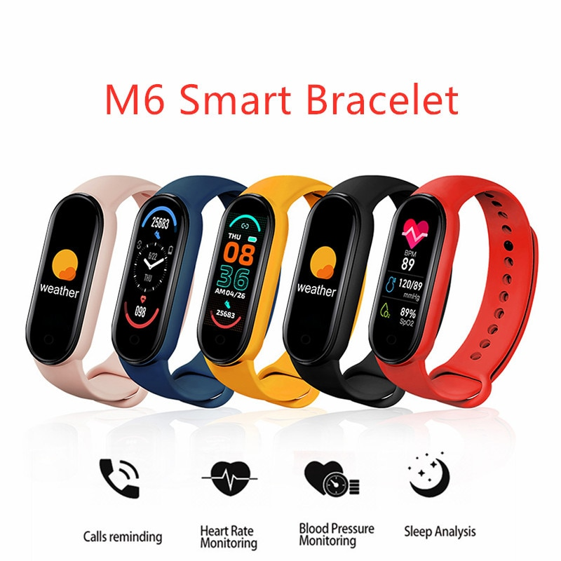2021 M6 Smart Bracelet Watch Fitness Tracker Smartband Heart Rate Blood Pressure Monitor Mi Band 6 For IOS Android Phone