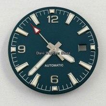 Reloj Dial + reloj manos 31mm esfera azul estéril ajuste Miyota 8205,8215,821A Mingzhu DG2813 3804 piezas de reloj de movimiento