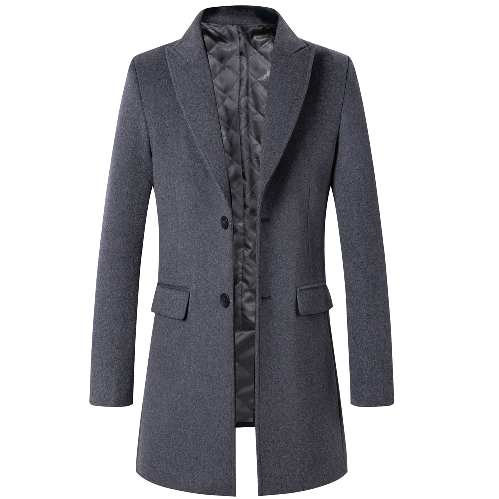 Пальто мужское плотное из 51.5% шерсти, классический облегающий Тренч высшего качества, верхняя одежда из смесовой шерсти, бренд Thoshine-зима