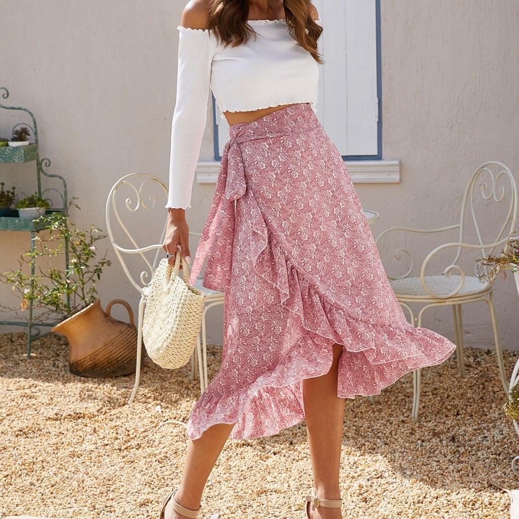 New Fashion Women Floral Print Chiffon Skirt Summer Bandage Lady Irregular Ruffles Leisure High Waist Empire Beach Boho Skirt empire waist tartan print slip dress