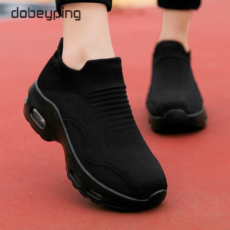 Spring Autumn Women's Swing Shoes Mesh Sock Woman Sneakers Flat Platforms Female Shoe Wedges Ladies Sneakers Height Increasing technological platforms