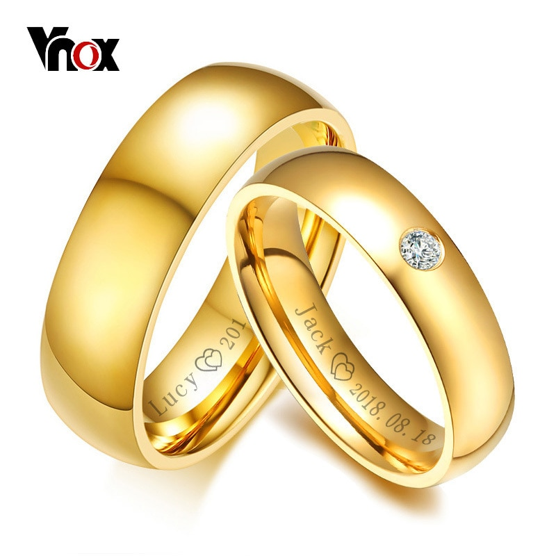 Vnox Classic Wedding Rings for Women Men Gold Color Stainless Steel Couple Band Anniversary Personalized Name Lovers Gift vnox temperament wedding rings for women men cz stones stainless steel engagement band anniversary personalized gift jewelry