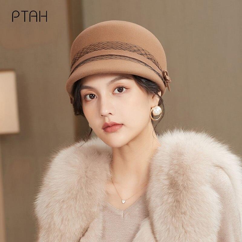 PTAH-sombreros de lana de 100% Para mujer, sombreros Vintage, sombreros Para iglesia,...