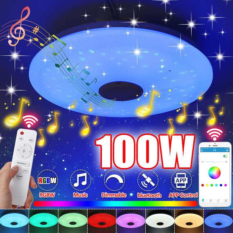 ترقية واي فاي 100 واط LED أضواء السقف مع ارتفاع الصوت مكبر صوت ذو جودة RGB عكس الضوء نوم ضوء السقف يعمل مع المنزل/اليكسا