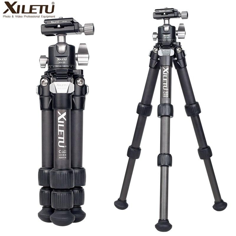 XILETU-حامل ثلاثي القوائم من ألياف الكربون ، خفيف الوزن ومستقر ، مع دوران 360 درجة ، قابل للفصل ، حامل طاولة صغير للكاميرات الرقمية DSLRS