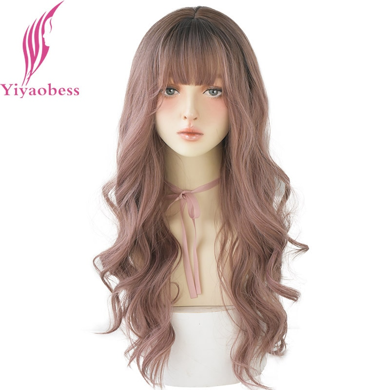 Yiyaobess Long Wave Black Brown Pink Blonde Ombre Wig Synthetic Hair African American Womens Wigs With Bangs Heat Resistant