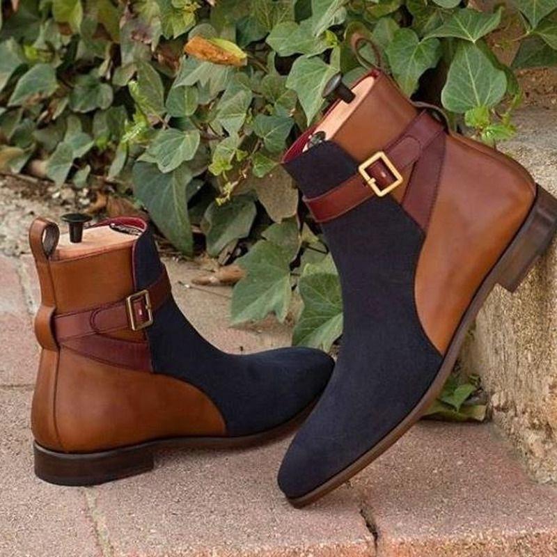 حذاء رجالي من جلد البولي يوريثان بسحاب ، حذاء مريح عصري ، نمط غير رسمي ، YK486