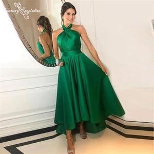Hi-Lo Green Prom Dresses Long 2021 Halter Backless A-Line Formal Evening Dress Party Gowns Vestido De Fiesta Cheap