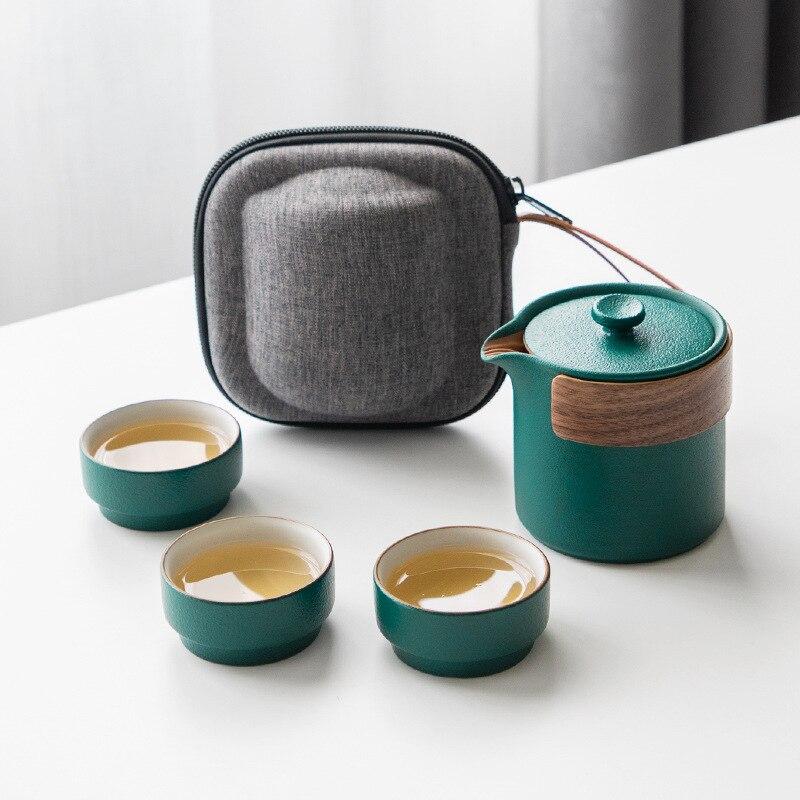 كوب سريع وعاء واحد يملأ ثلاثة أكواب غطاء خارجي للسيارة حقيبة صغيرة محمولة يابانية بسيطة طقم شاي سفر الأعمال