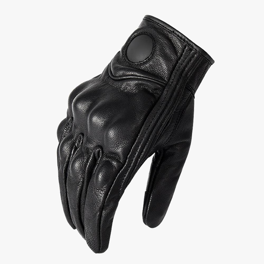 1 par de guantes de cuero todoterreno moto bicicleta de carreras de conducción al aire libre pantalla táctil piel de oveja guantes de motocicleta