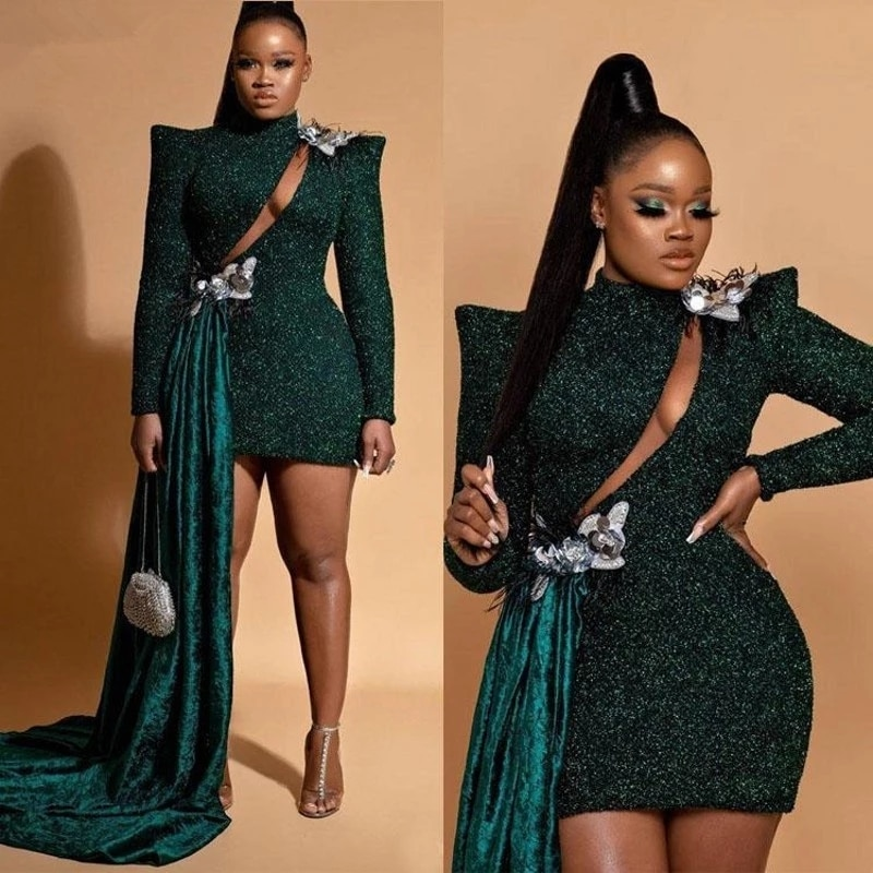 Dark Green South African Cocktail Dresses Sheath Long Sleeves Short Mini Sequins Elegant Party Homecoming Dresses