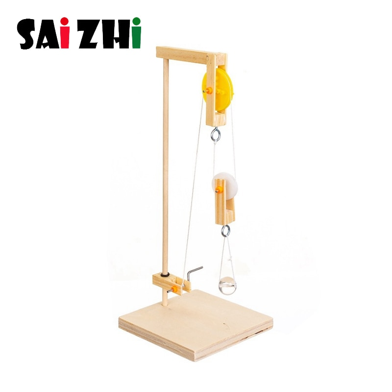 Saizhi DIY grúa montada a mano modelo de juguete ciencia tecnología rompecabezas educativo experimento para niños DIY juguetes SZ33f4