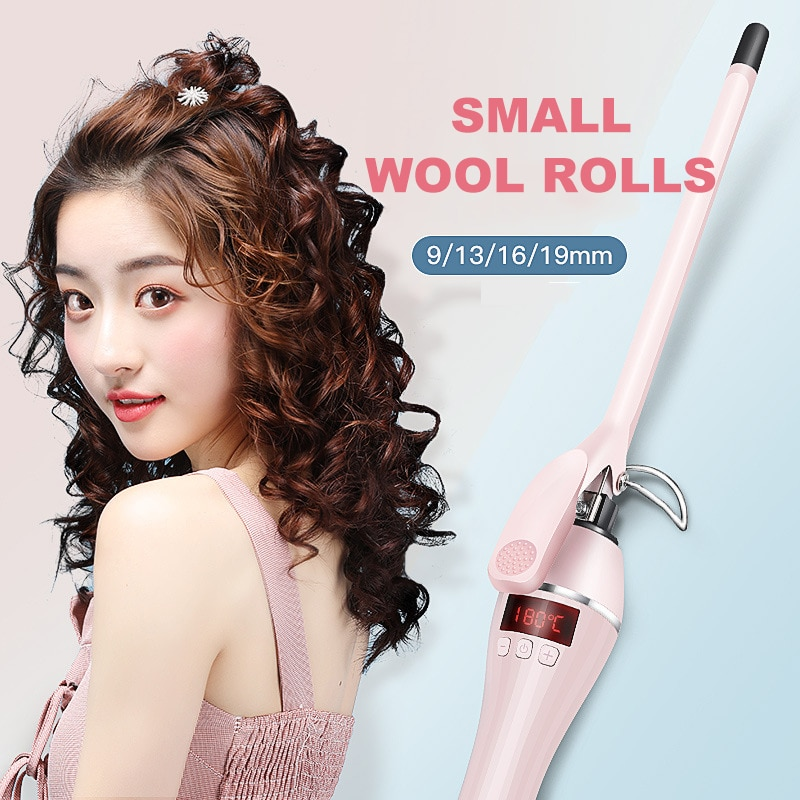 New Arrival 9mm Curling Iron LCD Screen Wool Curling Iron Ceramic Teddy Superfine Perm Hairdressing Tools Hair Rollers Curlers