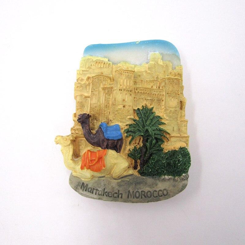 Марокканское животное верблюд ручная роспись 3D Смола магнит на холодильник стикеры страны городской Туризм Сувенир домашнее украшение