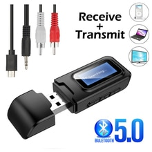 USB Bluetooth 5.0 + EDR + LCD Display Audio Receiver Transmitter For TV PC Driver-Free USB Dongle 3.