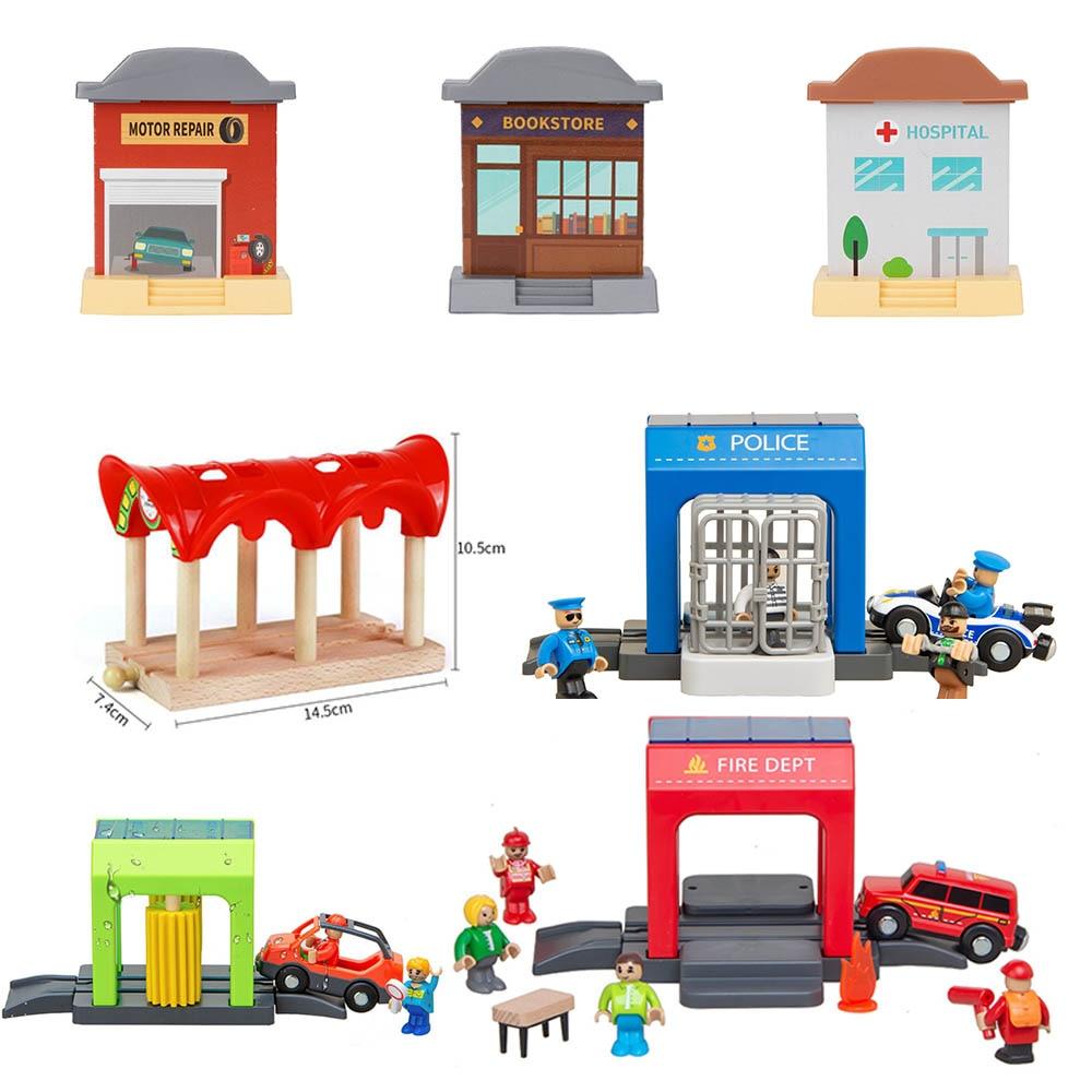 Детали деревянной железнодорожной станции, автомобильные игрушки, подходят для всех брендов, гоночные треки, обучающие игрушки