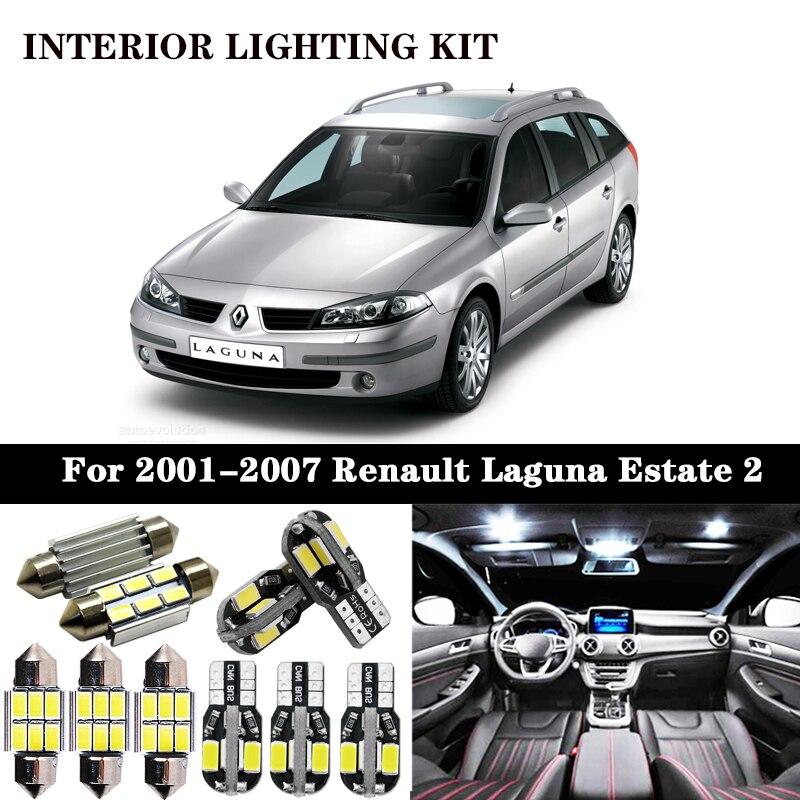 Juego de 18 bombillas LED de lectura para Renault Laguna, Break Sport Tourer Estate II 2 MK2, libre de errores, para interiores de 2001 a 2007