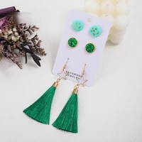 minar 2021 christmas colorful long tassel polymer clay earring for women shiny sequins beaded star drop dangle earrings brincos