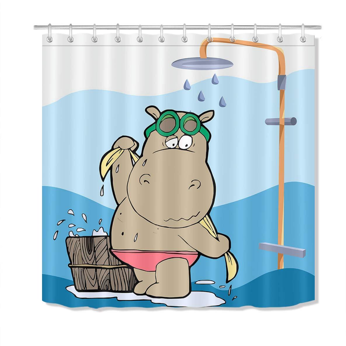 Bonito hipopótamo cortina de chuveiro crianças desenhos animados engraçado hipopótamo tendo chuveiro design banheiro deocr